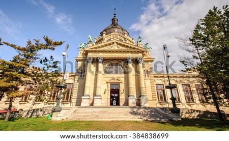 Front entrance of the Szechenyi Thermal Bath in Budapest, Hungary - stock photo