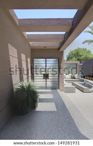 Front entrance with veranda of Californian home - stock photo