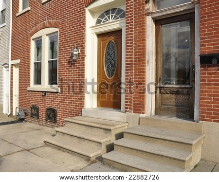 front entrances for red brick row homes