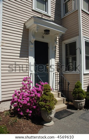 Front entry, single family house - stock photo