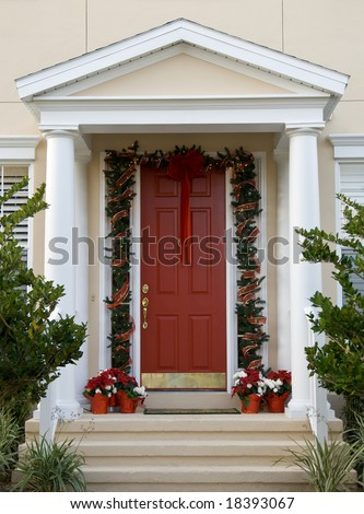 front entryway decorated for the holiday season
