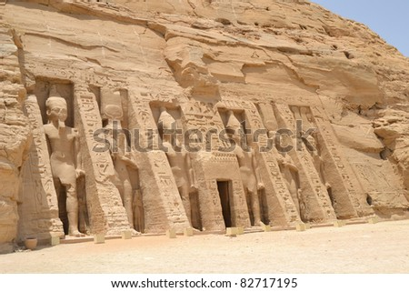 Front facade and entrance to the Temple of Nefertari at Abu Simbel