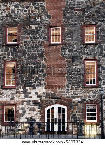 Front Facade of a Historic River Front Building in Savannah, GA. - stock photo