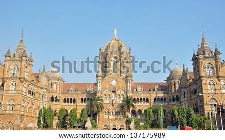 Front facade of Chhatrapati Shivaji Terminus (formerly Victoria Terminus) in Mumbai, India. - stock photo
