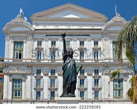 Front facade of the Opera house with statue of Liberty in city of Nice, France - stock photo
