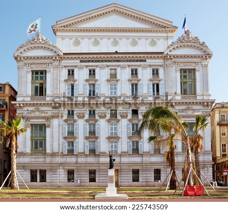Front facade of the Opera house with statue of Liberty in city of Nice, France. - stock photo