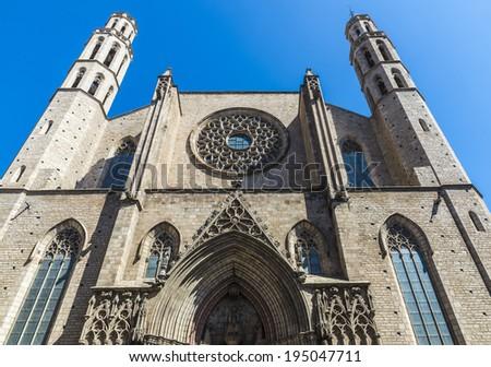 Front facade Santa Maria del Mar church in Barcelona - stock photo