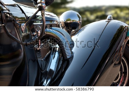 Front fender of am antique car. - stock photo