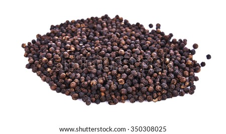 front focus  black pepper isolated on white background