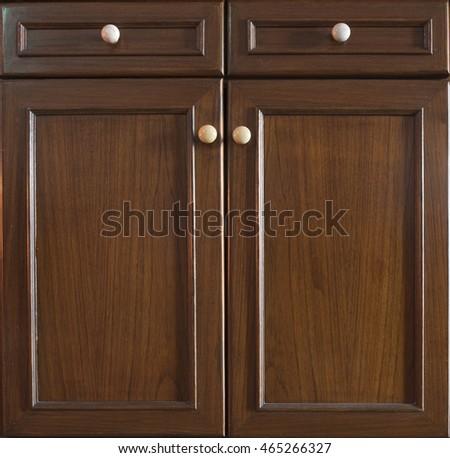 Front Kitchen Wooden Frame Cabinet Door Stock Photo