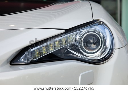 Front light of a modern sports car, including several LED elements
