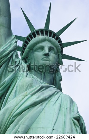 Front low angle view of Statue of Liberty - stock photo