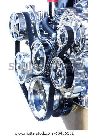 Front of a Chrome High Performance V 8 Engine - stock photo