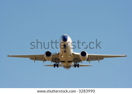 Front of a commercial airplane - stock photo