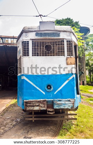 Front of a common tram which is a heritage of Kolkata, India - stock photo