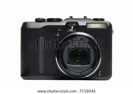 Front of a digital camera, isolated on white.