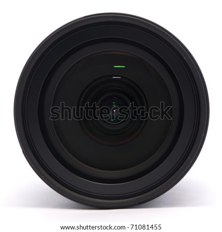 Front of a digital single lens reflex camera lens on a white background - stock photo