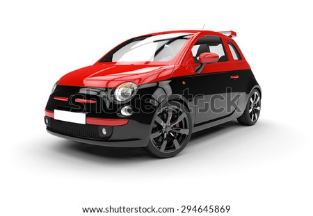 Front of a generic red and black city car isolated on a white background