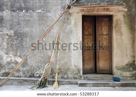 front of a house in Vietnam