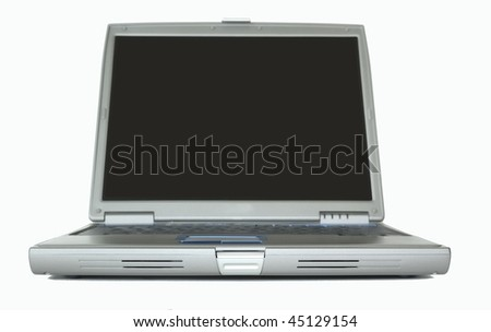 Front of a laptop computer isolated on a white background