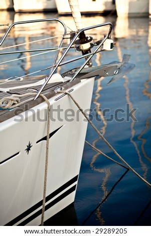 front of a sail boat