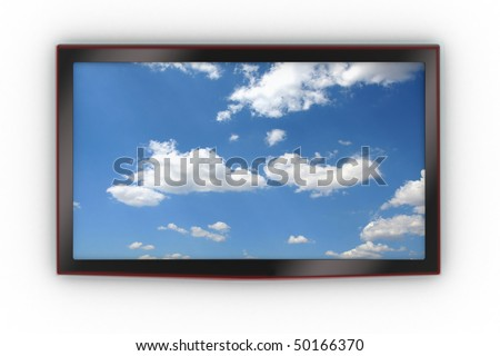 Front of a wall-mounted stylish LCD TV. - stock photo
