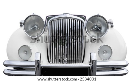 Front of a white old car. + clipping path - stock photo
