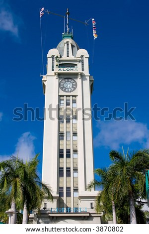 Front of Aloha Tower greeting arriving visitors to Honolulu Hawaii - stock photo