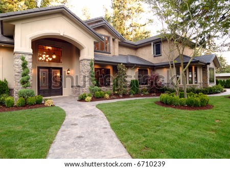 Front of an American Luxury Wooden House - stock photo