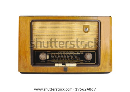 Front of an old retro radio isolated on white - stock photo