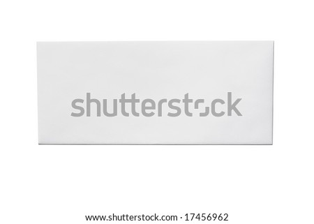 Front of an unused white envelope isolated on a white background - stock photo