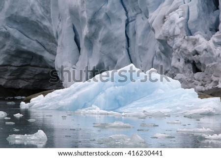 front of bjoernfjorden glacier in Svalbard, Arctic - stock photo