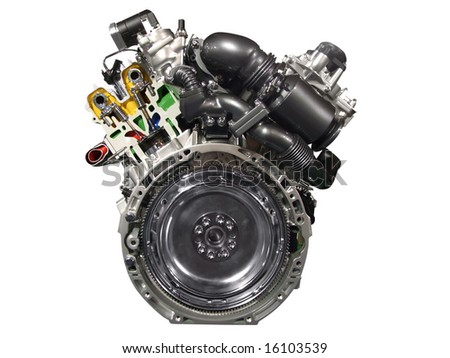front of car engine isolated - stock photo