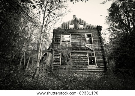 Front of creepy old house - vintage black and white  version - stock photo
