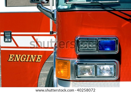 Front of firetruck with door open - stock photo