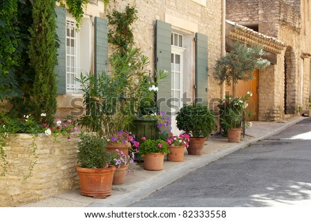 Front of house with plant pots - stock photo