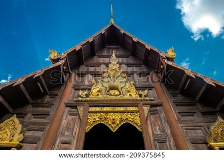 Front of lanna temple, wat ph an tao, chiang-mai, thailand - stock photo