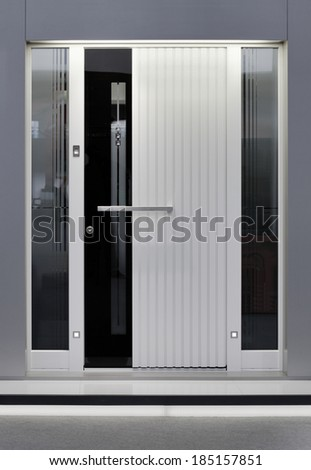 Front of Massive Aluminum Door - stock photo