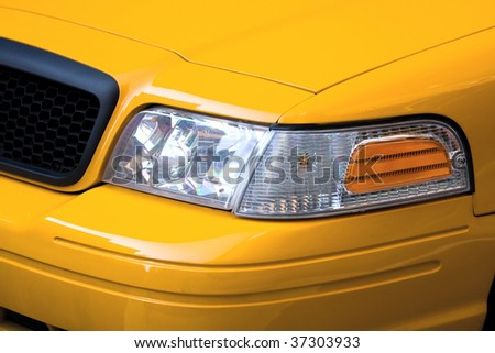 Front of New York city taxi yellow cab - stock photo