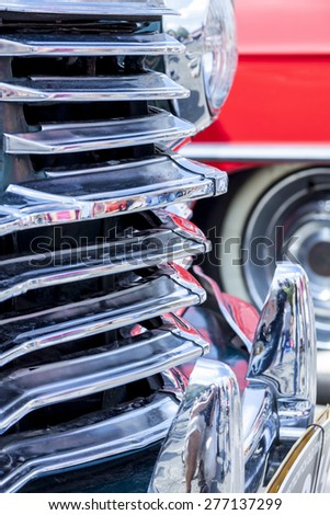 Front of old car. - stock photo