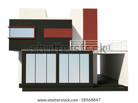 Front of private house exterior isolated over the white 3d - stock photo