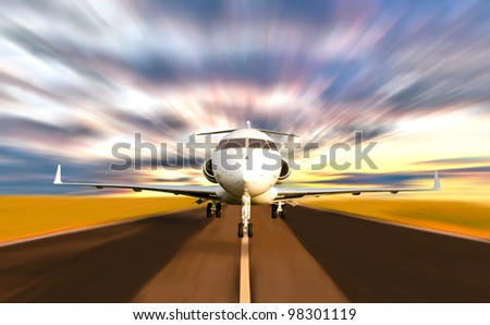Front of Private Jet Plane Taking off with Motion / Radial  Blur. Sunset Scene - stock photo
