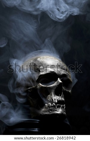 front of real skull in smoke - stock photo