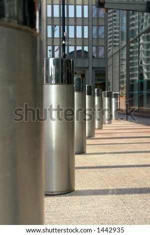 Front of Sears tower, shallow DoF with focus on second pillar in. - stock photo