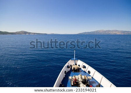 Front of the boat on the sea - stock photo