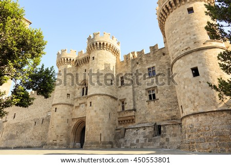 Front of the Grand Master of the Knights of Rhodes, a medieval castle of the Hospitaller Knights on the island of Rhodes, Greece. - stock photo