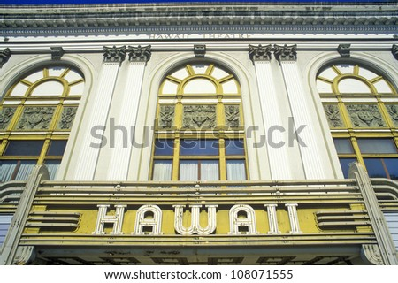 Front of the Hawaii Theater, Honolulu, Hawaii - stock photo