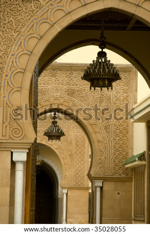 Front of the King's Mohammad VI palace in Rabat - stock photo