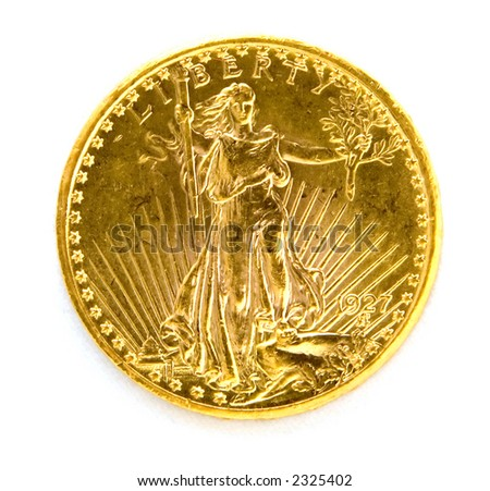 Front of US Twenty Dollar St. Gauden Double Eagle Gold Coin on White Background