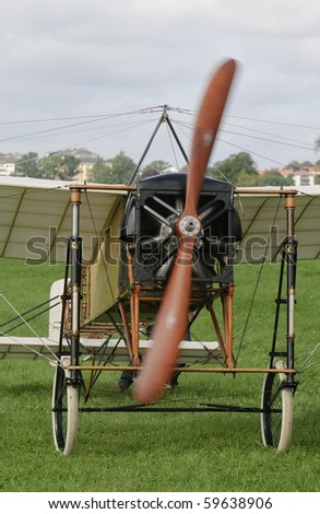 Front of vintage airplane - stock photo